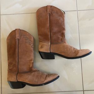 Tan Leather Soft Suede Cowboy Western Boots 11